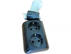 Разклонител 2-ка , трапец ,2м кабел (3X1.5MM) ,черен