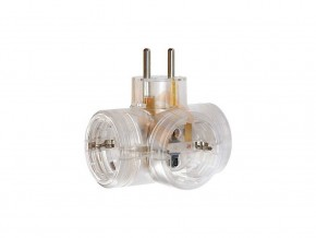 Адаптер  3  гнезда  T- образен за контакт тип шуко / прозрачен/ , LEGRAND