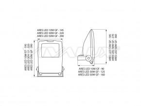 Диоден прожектор IP65 ARES LED - ARES LED 50W GF