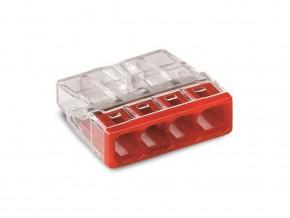 Бърза връзка WAGO 4х0,5-2,5 mm2 (100бр. в кутия) червена за твърд проводник