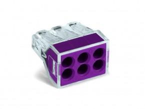 Бърза връзка WAGO 6х0,5-2,5 mm2 (50бр. в кутия) лилава за твърд проводник