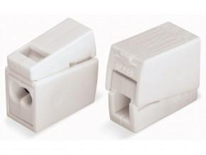 Бърза връзка Wago 2х0,5-2,5 mm2 (100бр.) бяла за захранване на осв.тяло