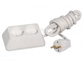 Разклонител 2-ка , трапец ,2м кабел (3X1.5MM) ,БЯЛ