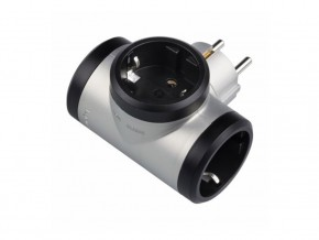 Адаптер  3  гнезда  T- образен за контакт тип шуко черен / сив, LEGRAND