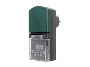 Електронен таймер черен седмичен с  LCD  дисплей IP44 1800W  и батерия, GAO