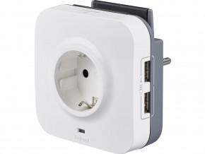 A даптер защита от пренапрежение  2P+T, 16A,  2xUSB  и поставка за телефон, LEGRAND