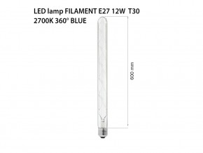 LED лампа FILAMENT E27 12W СИН 360° T30